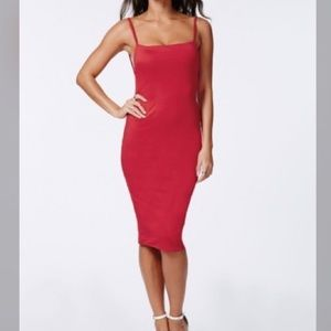 Missguided red backless midi party dress size 10